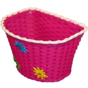 PEDALPRO FLOWERY PINK PLASTIC GIRLS/CHILDS/CHILDRENS/KIDS BIKE/BICYCLE BASKET WITH FIXING STRAPS