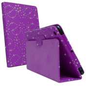 Hot Purple Glitter Diamond Crystal Bling Sparkly Floral Print Book Wallet Folio Case Cover Pu Leather Magnetic Stand View For Apple iPAD 2nd 3rd 4th GEN Generation Plus Free Screen Protector by Bestcases4u