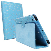 Turquoise Sky Blue Glitter Diamond Crystal Bling Sparkly Floral Print Book Wallet Folio Case Cover Pu Leather Magnetic Stand View For Apple iPAD 2nd 3rd 4th GEN Generation Plus Free Screen Protector by Bestcases4u