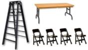 15cm Black Folding Ladder, Brown Wood Effect Breakaway Table & 4 Chairs - Wrestling Figure Accessories