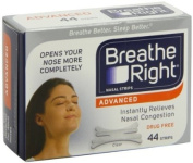 50% stronger for noses that need a little extra health - Breathe Right Advanced Nasal Strips, 44 Count