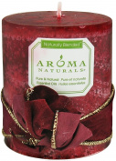 Aroma Naturals Peace Ruby Holiday Essential Oil Pillar Candle, Orange, Clove and Cinnamon, 7.6cm x 8.9cm