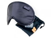 Dream Essentials Twilight Sleep Mask with Earplugs, Earplug Case and Carry Pouch, Black