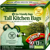 Green N Pack 49.2l Tall Kitchen Drawstring Bag, Tall Kitchen Trash Liners