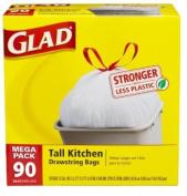 Glad Tall Kitchen Drawstring Trash Bags, 49.2l, 90 Count