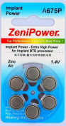 ZeniPower Cochlear Implant Batteries Size A675P