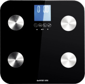 GoWISE USA Slim Digital Bathroom Scale - Measures Weight, Body Fat, Water, & Bone Mass 400 Lbs Capacity Tempered Glass GW22025