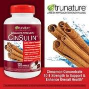 TruNature Advanced Strength Cinsulin Cinnamon, Chromium Picolinate, Vitamin D3 Cinnamon 500 Mg, Chromium Picolinate, 400 Mcg, Vitamin D3, 500 Iu , 170 Capsules