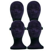 4PCs A1Pacific 28cm BLACK Velvet STYROFOAM FOAM MANNEQUIN MANIKIN head wig display hat glasses