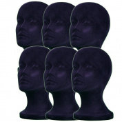6PCs A1Pacific 28cm BLACK Velvet STYROFOAM FOAM MANNEQUIN MANIKIN head wig display hat glasses