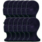 12PCs A1Pacific 28cm BLACK Velvet STYROFOAM FOAM MANNEQUIN MANIKIN head wig display hat glasses