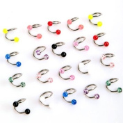 TOMTOP 20pcs Colourful Stainless Steel Ball Curved Nose Navel Belly Button Rings Bars Piercing