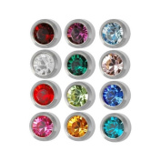 Surgical Steel 4mm Ear piercing Earrings studs 12 pair Mixed Colours White Metal