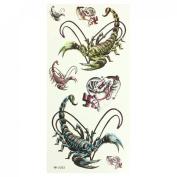 Rosallini Yellow Blue Scorpion Pattern Transfer Tattoos Seal Skin Beauty Decal
