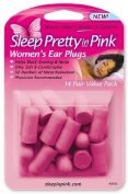 Sleep Pretty in Pink Women's Ear Plugs, 14 Pairs