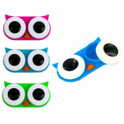 Kikkerland Owl Contact Lens Case, Assorted Colours, Pink/Blue/Green