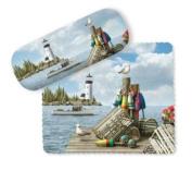 Coastal Dockside Pier Buoys Lighthouse Eye Glasses Case & Lens Cloth