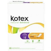Kotex Natural Balance Lightdays Liners, Unscented, Extra Coverage, 80 ea, 80 ea