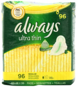 Always Ultra Regular With Wings, Unscented Thin Pads 96 Count