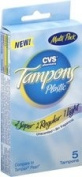 CVS Unscented Plastic Tampons Multi-Pack, (2 Super, 2 Regular, 1 Light), 5 ct