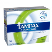 Tampax Essentials Plastic Applicator Super Absorbency, Unscented Tampons 36 Count