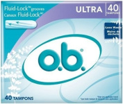 Pack of two boxes, each containing 40 ultra absorbency tampons (total of 80 tampons) - o.b. Ultra Absorbency Tampons, 40 Count