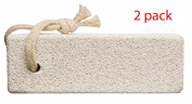 2 pack Large Pumice Stone Block with tie for smoothing away calluses and hard, dry skin (Size