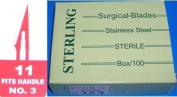 Sterling #11 Surgical Podiatry Blades Scalpels Sterile Stainless Steel -100/Bx- Pedicure