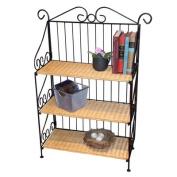 Wicker & Iron Bookshelf w 3 Levels