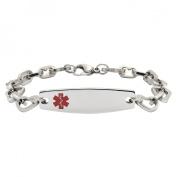 Hope Paige Silver Stainless Steel Heart Link Bracelet - 8.5