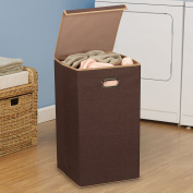 Household Essentials 5612 Collapsible Single Laundry Hamper with Magnetic Lid - Brown Coffee