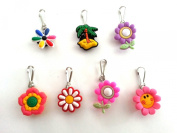 7 pcs Small Flowers #3 Zipper Pull / Zip pull Charms for Jacket Backpack Bag Pendant