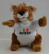 Personalised squirrel plush toy with I love Aubry T-Shirt