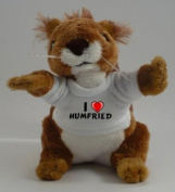 Personalised squirrel plush toy with I love Humfried T-Shirt