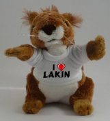 Personalised squirrel plush toy with I love Lakin T-Shirt