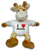 Giraffe plush toy with I Love Archie T-Shirt