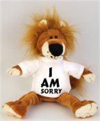Lion plush toy (Fetzy) with I am sorry t-shirt