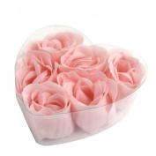 6 Pcs Pink Heart Design Box Fragrant Bathing Soap Rose Petals