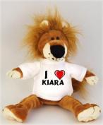 Lion plush toy (Fetzy) with I Love Kiara t-shirt