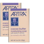 Artra Cocoa Butter Moisturising Soap For Normal To Dry Skin, With Vitamin E and Aloe, Pack of 2, 110ml each bar
