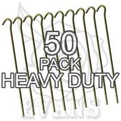 "Galvanised Steel Heavy Duty Tent Pegs - 9"" / 23cm Long - 4.5mm Wide"