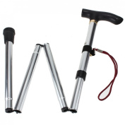 "WALKING STICK "" FOLDING FOLDABLE LIGHTWEIGHT METAL ADJUSTABLE CANE COMPACT"