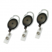 3x Black Carabiner Style Retractable Reel Key Chain ID Badge Holder Office NEW.