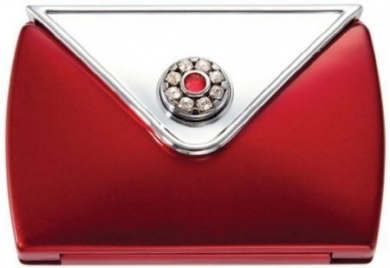Brandon Femme 7X and Normal Rhinestone Envelope Compact Mirror, Ruby, 70ml