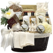 Luxurious spa collection hand-arranged in a cotton-lined keepsake gift basket - Art of Appreciation Gift Baskets Essence of Luxury Spa Bath and Body Set