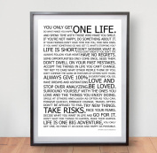 LIFE MANIFESTO POSTER - The World Famous Original Motivational Quote Wall Art Picture Print - Size A2