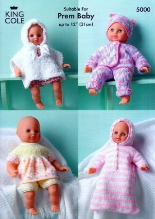 22d78c0c0 King Cole Dolls Clothes (Prem Baby) in DK Knitting Pattern 5000