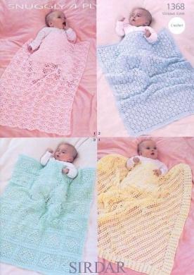 Sirdar Snuggly 4PLY Baby Shawl Blanket Crochet Pattern 1368