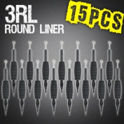 15pcs 3RL Round Liner Disposable Tattoo Needle 1.9cm Grip Tube Tip Sterilised