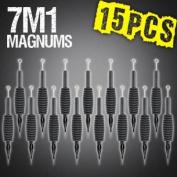 15pcs 7M1 Mag Magnum Disposable Tattoo Needles 1.9cm Grip Tube Tip Sterilised